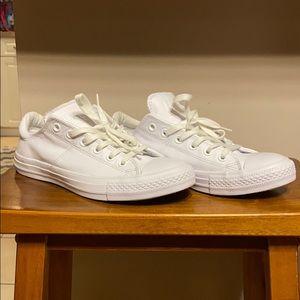 EUC All white leather Converse